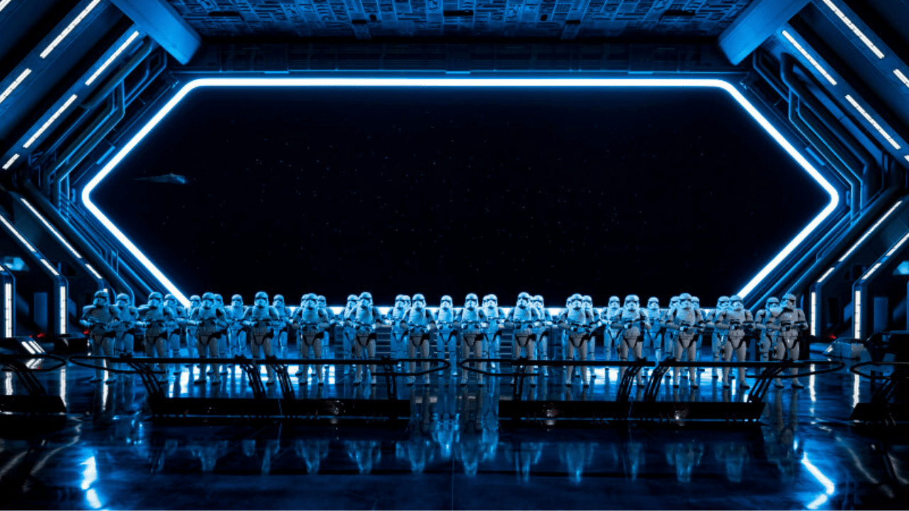 One of the most iconic pictures to take on the new Rise of Resistance Star Wars themed experience at Disneyland and Walt Disney World - a room full of First Order Stormtroopers!